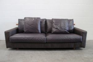 "Handsome Pristine Flexform ""Patrik"" 3-Seat Sofa in Herringbone Fabric & Leather"