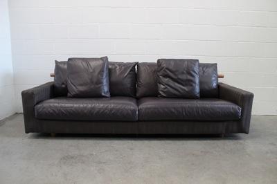 """Handsome Pristine Flexform """"Patrik"""" 3-Seat Sofa in Herringbone Fabric & Leather"""