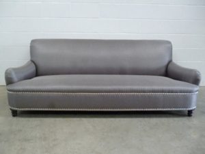 "Mint Standard-Arm ""Jules"" Large 3-Seat Sofa in Metallic-Weave Romo ""Zinc"" Fabric"
