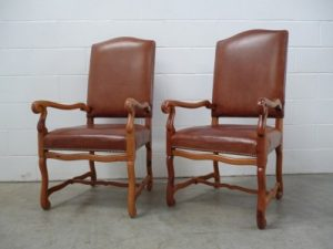 "Sublime Rare Pair of Ralph Lauren ""Polo"" Hand-Carved Armchairs in Oak & Leather"