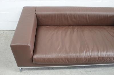 "Stunning Mint B&B Italia ""Dadone"" 2.5-Seat Sofa in Pristine Mid-Brown Leather"
