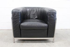 """Rare Impeccable Zanotta """"Onda"""" Armchair in Jet Black Leather and Chrome"""