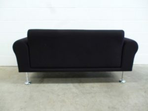 """Sublime Mint Vitra """"Morrison"""" 2-Seat Chesterfield Sofa in Jet Black Fabric"""