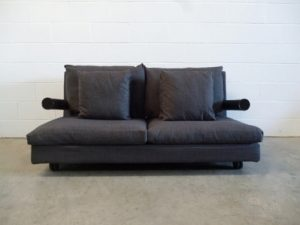 "Rare Pristine B&B Italia ""Baisity"" Large 2-Seat Sofa in Woven Slate-Grey Fabric"