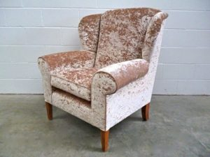 "Mint Bespoke Oversized ""Wing-Back"" Armchair in Pale Gold ""JAB Anstoetz"" Velvet"