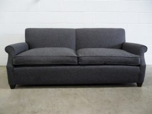 "Pristine Kingcome ""Scroll-Arm"" 2.5-Seat Sofa in Dark Grey Tweed Woven Wool Fabric"