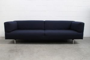 "Rare Pair of Cassina 250 ""Met"" Large 3-Seat Sofas in Navy Blue Canvas Fabric"