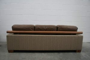 """Handsome Flexform """"Status"""" 3-Seat Sofa in Striped Wool Fabric and Brown Leather"""