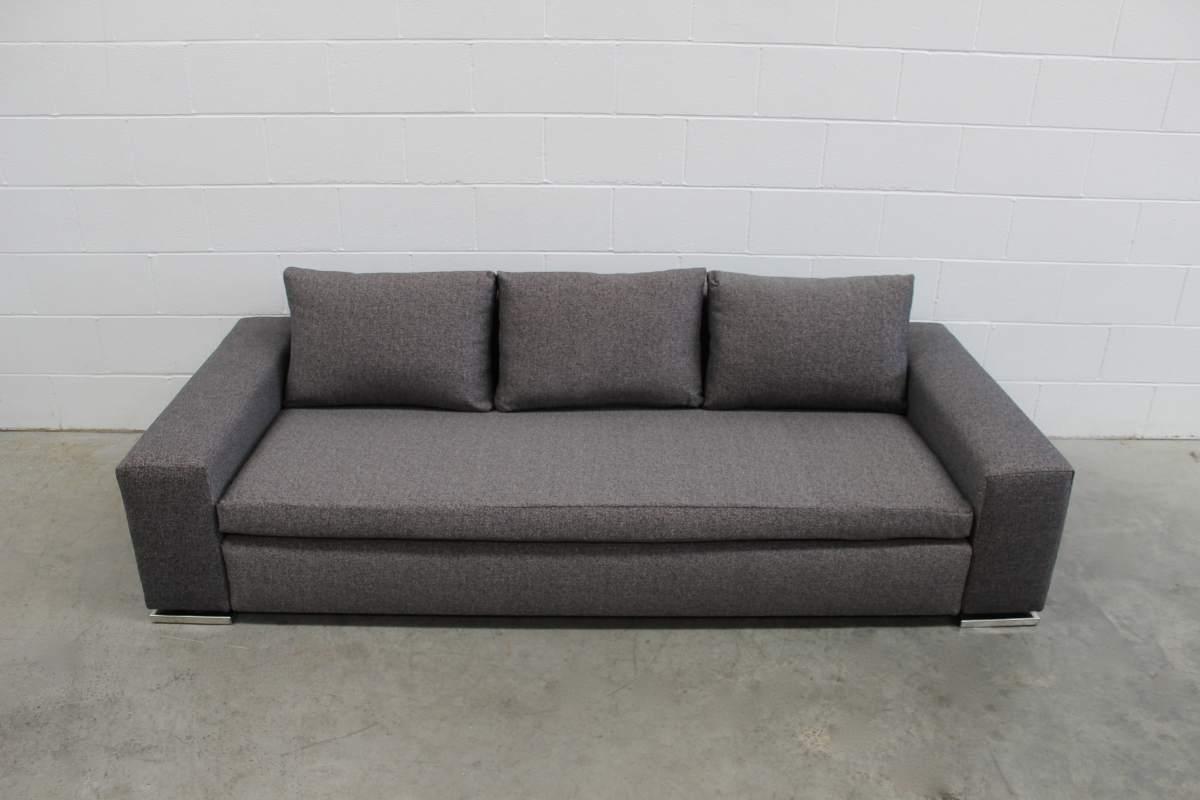 Rare Superb Pristine Minotti Moore 3 Seat Sofa In Grey Black Woven Fabric