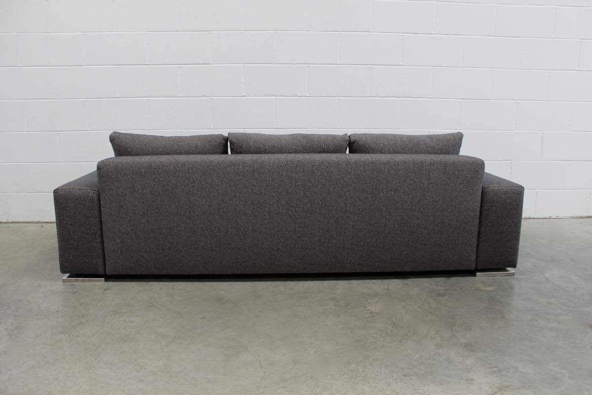 Rare Superb Pristine Minotti Moore 3 Seat Sofa In Grey Black Woven Fabric Lord Browns