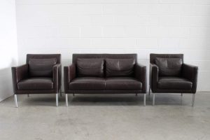 """Rare Walter Knoll """"Jason 391"""" 2-Seat Sofa & 2 Armchairs Suite in Brown Leather"""