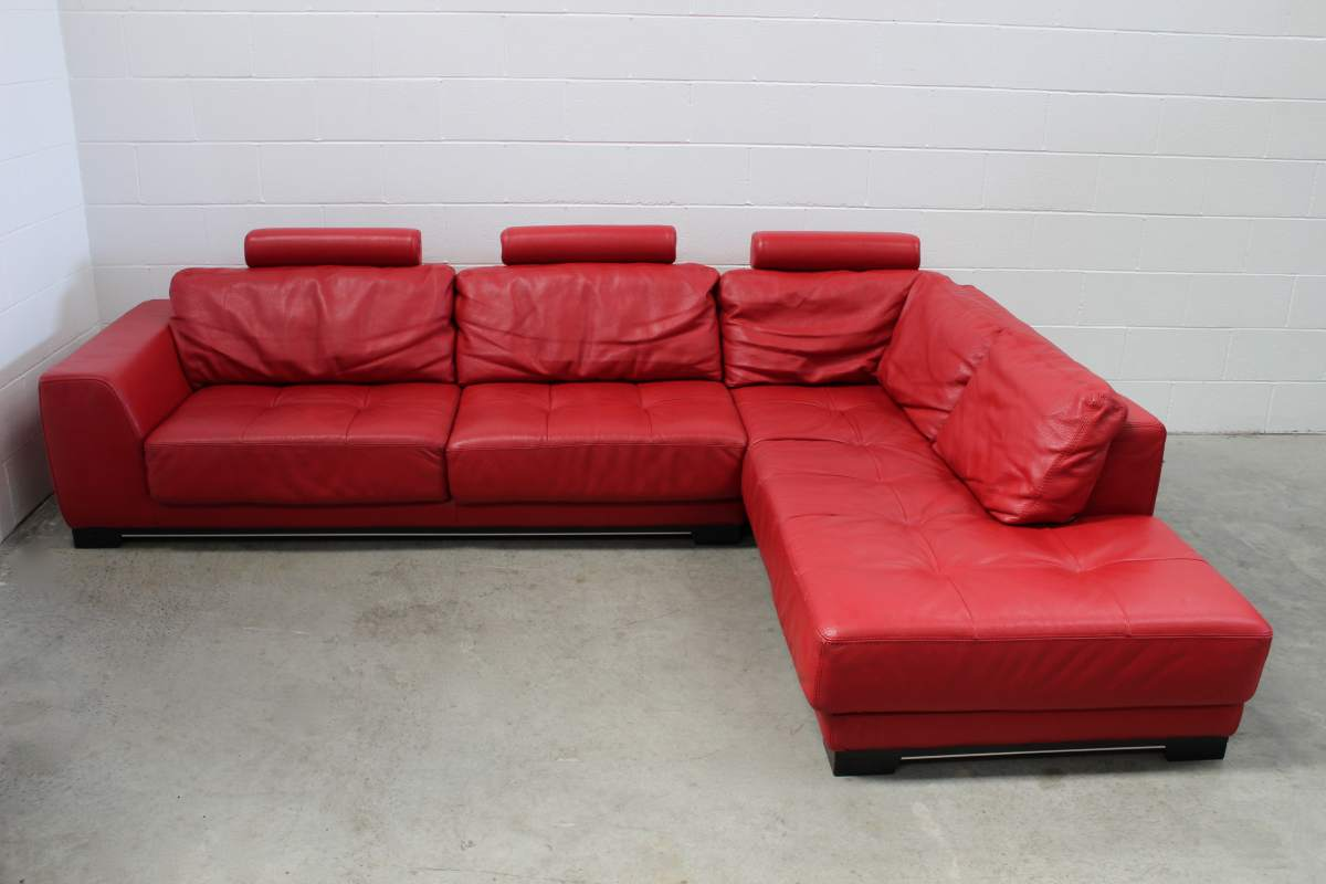 Pristine Huge Roche Bobois Guarana L Shape Sectional Sofa In Red