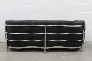 "Rare Impeccable Zanotta ""Onda"" 3-Seat Sofa in Jet Black Leather and Chrome"
