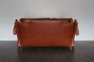 "Elegant Pristine Duresta ""Hornblower"" 2.5-Seat Sofa in Tan Brown Leather"