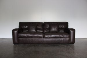 "Divine Duresta ""Panther"" Grand 3-Seat Sofa in Dark Brown Leather"