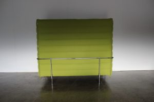 "Sublime Mint Vitra ""Alcove"" 2-Seat Highback Sofa in Lime Green ""Credo"" Fabric - 3 Available"