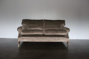 "Mint Bespoke ""Scroll-Arm"" 2.5-Seat Sofa in Spectacular Metallic Harlequin ""Ascent"" Velvet"