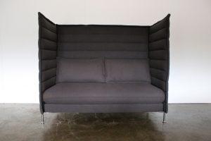 "Sublime Mint Vitra ""Alcove"" 2-Seat Highback Sofa in Pristine Grey ""Credo"" Fabric"