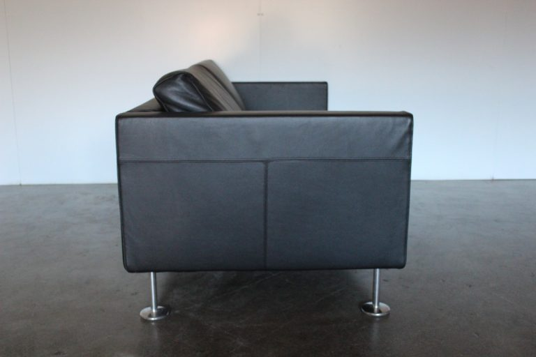 """Stunning Mint Vitra """"Park"""" 3-Seat Sofa in Jet Black Leather - 2 Available"""