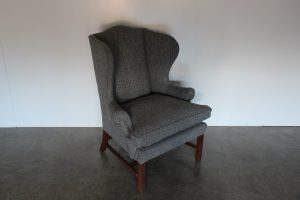 "Rare Sublime Ralph Lauren ""Devonshire"" Wing-Back Armchair in Grey Woollen Herringbone Fabric"