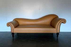 "Peerless George Smith ""Dog-Kennel Bed"" 2.5-Seat Sofa/Chaise in Connolly ""Hermes Orange H"" Leather"