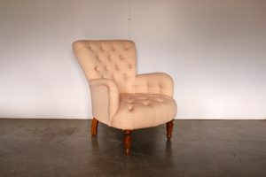 "Sublime Rare George Smith Small ""Bedroom"" Armchair in Raspberry & Ivory Spot-Pattern fabric"