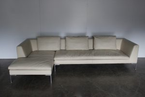 "Stunning Impeccable Large B&B Italia ""Charles"" L-Shape Sectional Sofa in Ivory Leather - 2 Available"