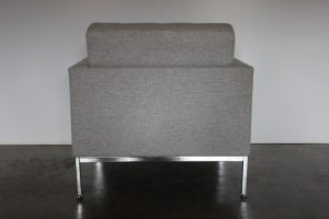 """Immaculate Sublime Knoll Studio """"Florence Knoll"""" Lounge Chair Armchair in Grey Wool - 2 Available"""