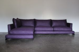 "Mint Peerless Flexform ""Long Island"" Sectional L-Shape Sofa in Purple Linen"