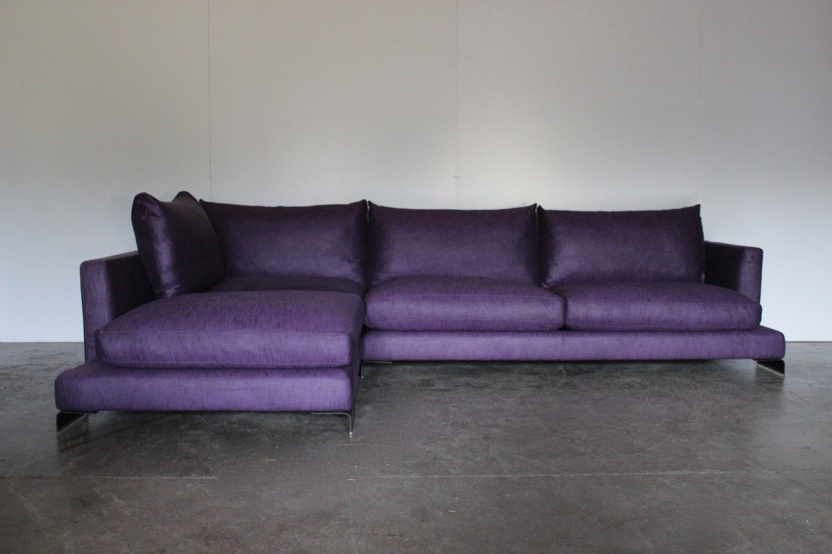 Marvelous Details About Peerless Huge Flexform Long Island Sectional L Shape Sofa In Purple Linen Onthecornerstone Fun Painted Chair Ideas Images Onthecornerstoneorg