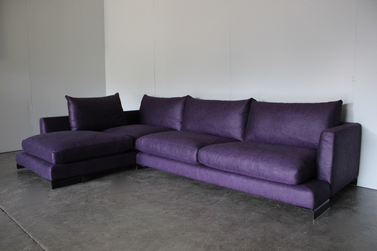 Pleasant Details About Peerless Huge Flexform Long Island Sectional L Shape Sofa In Purple Linen Onthecornerstone Fun Painted Chair Ideas Images Onthecornerstoneorg