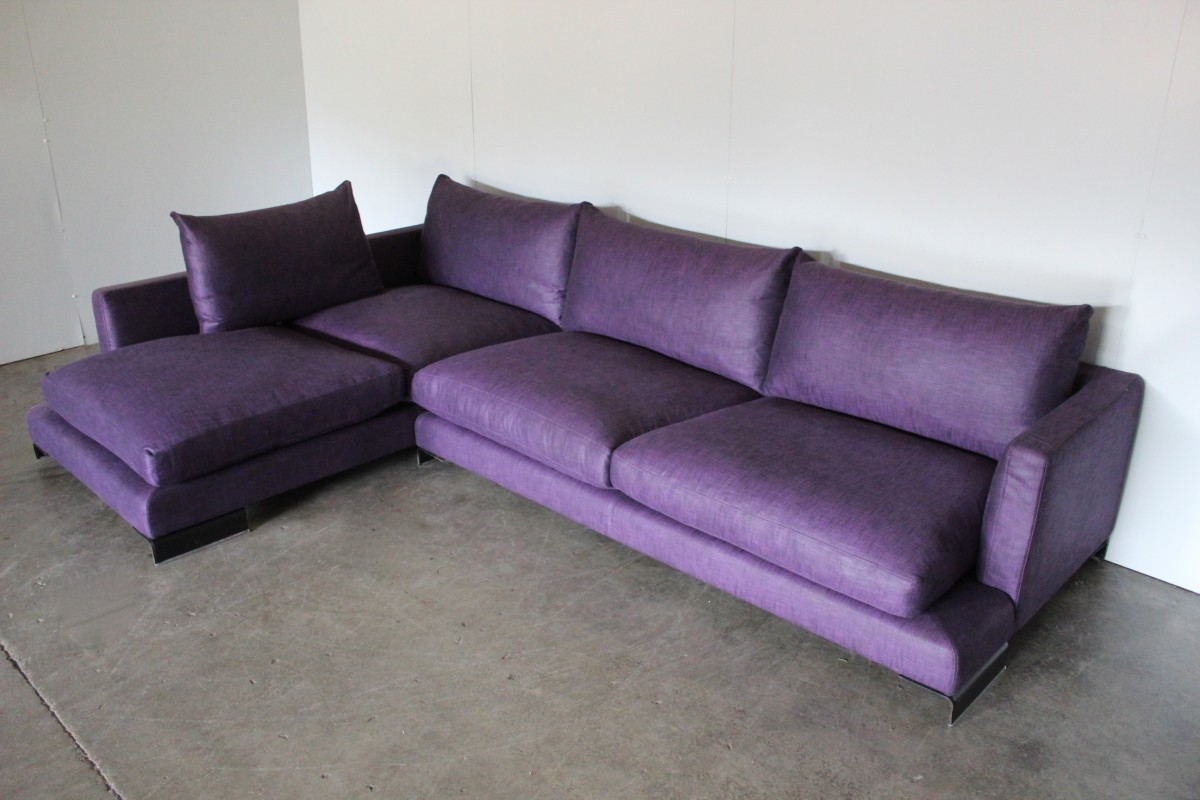 Strange Details About Peerless Huge Flexform Long Island Sectional L Shape Sofa In Purple Linen Onthecornerstone Fun Painted Chair Ideas Images Onthecornerstoneorg