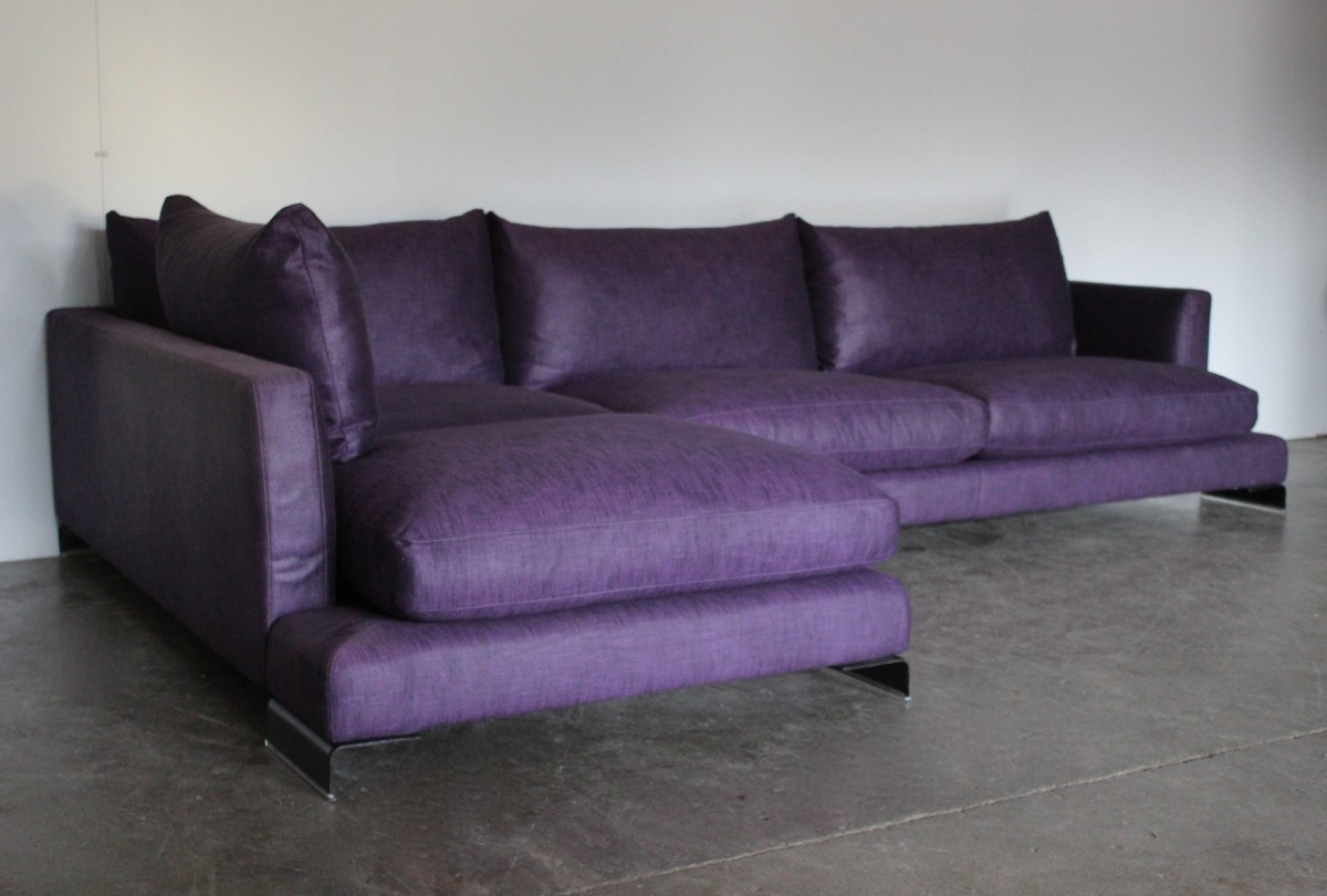 Swell Details About Peerless Huge Flexform Long Island Sectional L Shape Sofa In Purple Linen Onthecornerstone Fun Painted Chair Ideas Images Onthecornerstoneorg
