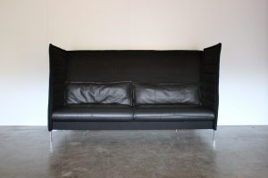 "Sublime Mint Vitra ""Alcove"" 3-Seat Highback Sofa in Black ""Credo"" Fabric & Leather - 4 Available"