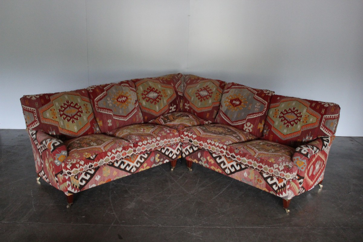 Rare George Smith Standard Arm Large 6 Seat L Shape Sofa In