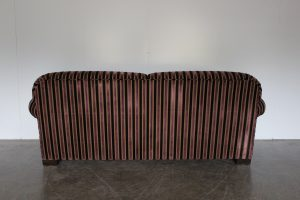 "Rare Gorgeous Ralph Lauren ""Scroll-Arm"" 3-Seat Sofa in Purple, Black and Gold Stripe Velvet"