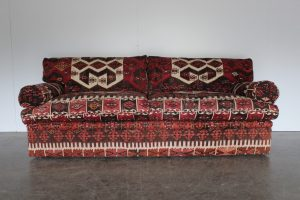 "Rare Pristine George Smith ""Bolster"" Large 3-Seat Sofa in Turkish Woolen Kilims"