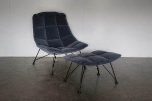 """Exceptional Knoll Studio """"Jehs + Laub"""" Lounge Chair & Ottoman"""" Suite in """"Marina"""" Mohair Velvet- 2 Available"""