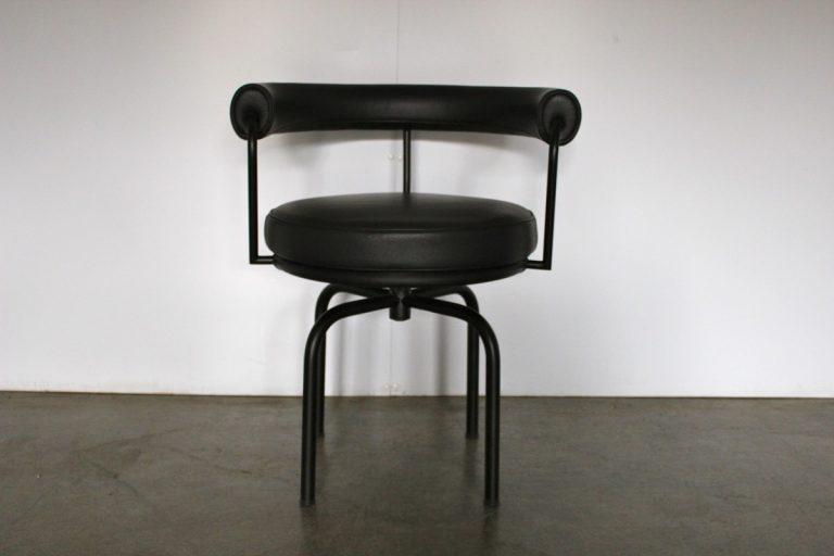 "Pristine Cassina ""LC7"" Swivel Revolving Armchair in Black Leather"