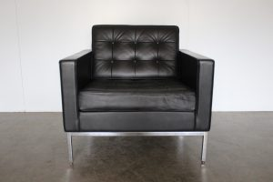 "Sublime Knoll Studio ""Florence Knoll"" Lounge Chair Armchair in Black ""Volo"" Leather - 2 Available"