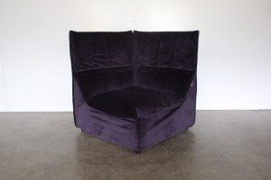 "Rare Mint 1975 B&B Italia ""Baia"" Corner Seat Armchair in Deep Purple Microfibre Velvet"