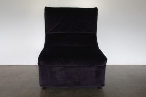 "Rare Mint 1975 B&B Italia ""Baia"" Armchair in Deep Purple Microfibre Velvet"