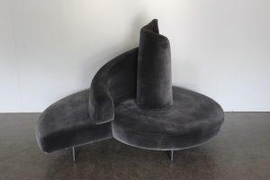 """Rare Outstanding Edra """"Tatlin"""" Spiral Tower Sofa in Dark Grey Velvet"""