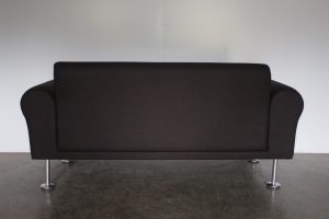 """Sublime Mint Vitra """"Morrison"""" 2-Seat Chesterfield Sofa in Light Black Fabric"""