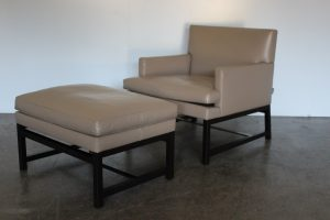 "Divine Pristine Minotti ""Flynt"" 2 Armchair & 2 Ottoman Suite in Brown Leather & Ash"