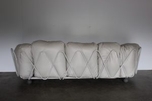 "Rare Outstanding Edra ""Corbeille"" Large 3-Seat Sofa in Impeccable Chalk-White Cream Leather - 2 Available"