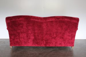 "Mint George Smith Signature ""Standard-Arm"" Medium 2-Seat Sofa in Raspberry Red Italian Velvet"