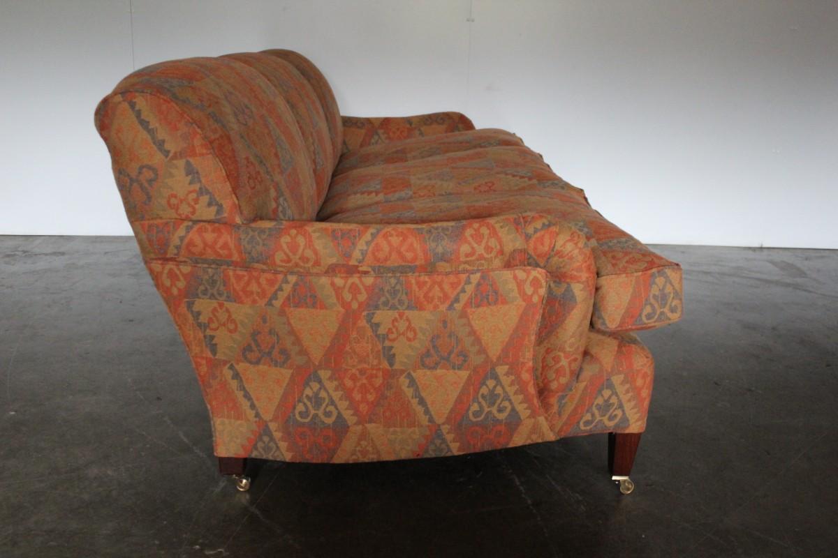Rare Pristine George Smith Standard Arm Large 3 Seat Sofa In