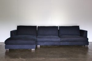 Mint BPA International 4-Seat L-Shape Sectional Sofa in Indigo Blue Denim Fabric