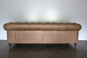 "Spectacular Mint ""Bagsie"" Chesterfield Sofa in Beaten Walnut Leather, Handmade by George Smith Craftsmen"